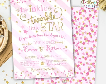 Twinkle Twinkle Little Star Baby Shower Invitation, Twinkle Twinkle Shower Invite, Printable Invitation, Baby Girl Shower, Twinkles Invite