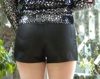 Black Shiny Shorts by Paris Blue Size 9 New Years Eve Party Shorts