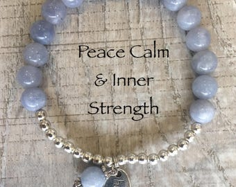 Aquamarine essential oil healing bracelet charged with reiki
