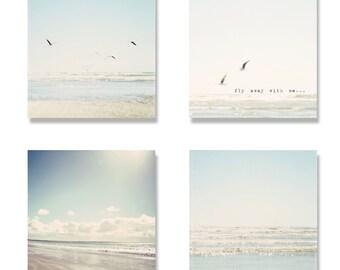 beach canvas wall art set, 4 beach canvas gallery wraps, beach photography set, pale blue, aqua, white, waves, typography, beach decor