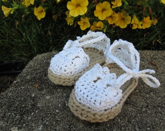 Baby Espadrille Sandals white cotton booties