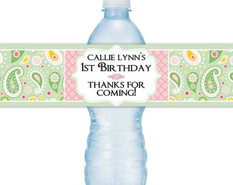 Custom 1st Birthday Water Bottle Labels, Paisley Water Bottle Labels, First Birthday Water Bottle Labels, Fit on 16.9 oz bottles