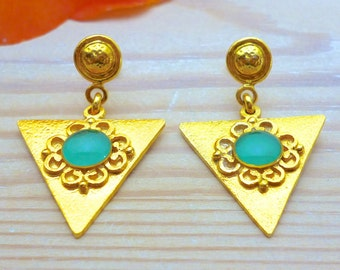 Statement Jewelry, Turquoise Earrings Gold, Triangle Earrings, Geometric Earrings, Bohemian Earrings, Greek Jewelry, Gift for her,