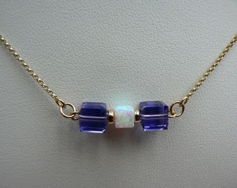 Art Deco style 9ct bar necklace with Opal & purple Tanzanite crystal cubes