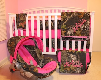 7pc  Camo Mossy Oak fabric & pink crib bedding nursery set with diaper bag