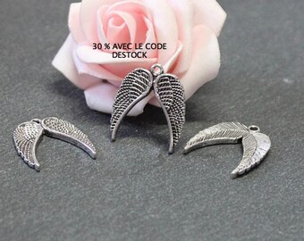 x 6 Angel Wings charms in antique silver 23 x 20 mm BRA221