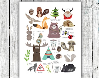 Alphabet Woodland Poster, Nursery Printable, gender neutral, animals, nature, Digital Download Size 11x14 and 16x20 #674