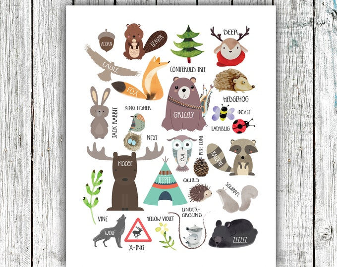 Alphabet Woodland Poster, Nursery Printable, gender neutral, animals, nature, Digital Download Size 11x14 and 16x20 #674