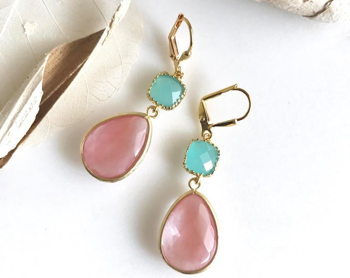 SALE - Grapefruit Pink and Turquoise Dangle Earrings in Gold.  Bridal Jewelry.