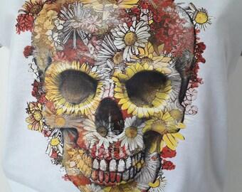 Flower Skull T-shirt (Men/Woman), Long Sleeve, Hoodie, Sweatshirt