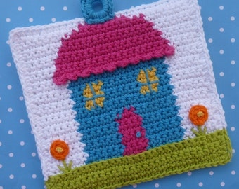 Home Sweet Home Potholder Crochet PATTERN - INSTANT DOWNLOAD