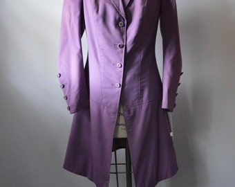Antique Coat 1915 Purple Lavender Wool Womens Coat from Lord and Taylor Back Flap with Buttons Fitted Waist Good Condition Size Large