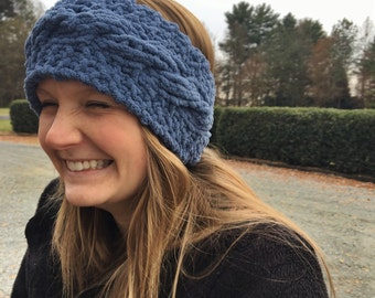 Cable Knitted Headband, Country Blue, Ear Warmers