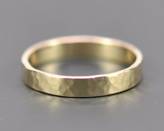 Yellow Gold 3mm Hammered Texture Matte Finish Ring, 14K Gold Wedding Band, Recycled Metals, Sea Babe Jewelry