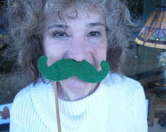 Upcycled Steampunk Felt Mustache on a Stick Handlebar (Green) - Movember Movement