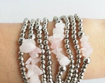 dainty bracelet, Silver metal beads, silver jewelry, stretch bracelet, stretchy, bracelet set, stack, simple jewelry, mother gift, bohemian