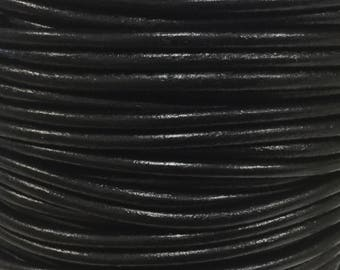 Natural Black 3mm Round Leather Cord 1 yd