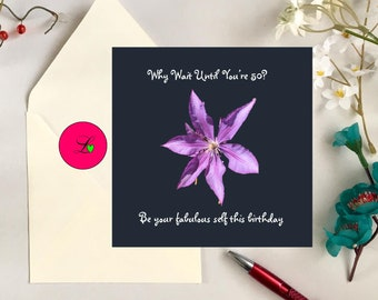 Birthday card/ Printable Photo/ Purple Flower/Square card