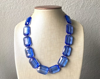 Royal blue Statement Necklace & Earring set, blue jewelry, Your Choice of GOLD or SILVER, navy bib chunky necklace, dark blue round necklace