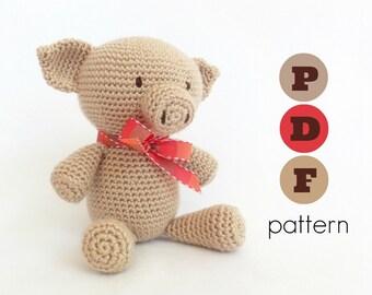 PDF amigurumi pig pattern: Pong, the pig. Amigurumi crochet pattern.