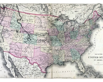 Lovely Historic United States Map, Reconstruction 1872