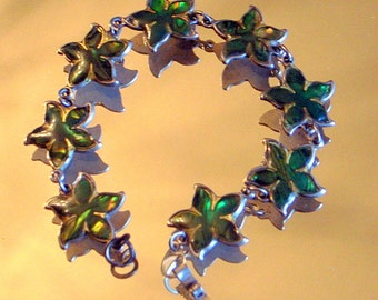Vintage Sterling Silver And Emerald Green Abalone Flower Bracelet - 7 Inches or 18cm  -- Taxco Sterling Silver
