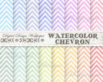 Watercolor Chevron Digital Paper,WATERCOLOR CHEVRON BACKGROUND,pink,blue,red,orange,green,hand painted chevron,Watercolor Chevron