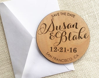 Wood Save the Date Magnet - Personalized Wedding Magnet - Calligraphy Save the Date - Rustic Wooden Magnet - Custom Wedding Save the Date