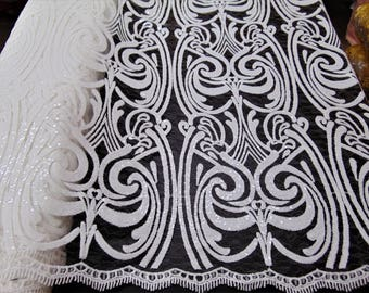 """ART NOUVEAU Damask WHITE Sequin Mesh Polyester Lace Large Fancy Elegant Apparel Wedding Dress Prom Veil Fabric By the Yard 52"""" Wide"""