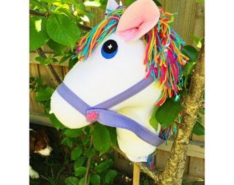 Handmade white Hobby Horse with rainbow mane