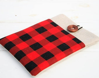 ipad case, ipad mini case, ipad pro case, samsung tablet case, ipad air case, made to FIT ANY BRAND tablet,Hipster Red and Black check