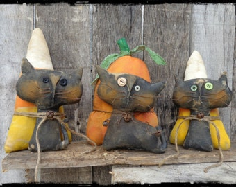 Primitive Black Cat Halloween Folk Art, Pumpkin Candy Corn, Autumn Fall Decor,