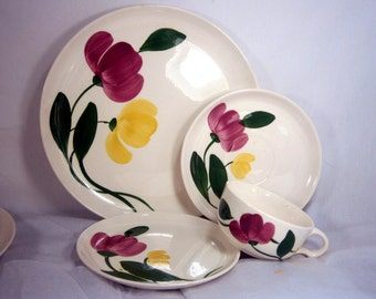 Stetson Pottery / Stetson China / Rio Pattern / Four Pieces / Replacement Pieces / Dinnerware / 1940's / Pink and Yellow Flowers