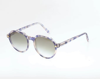 Beautiful round wayfarer sunglasses/glasses frames, unusual blue havana cello, golden metal pins, made in Italy in the '80s, gently used