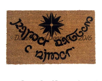 Elvish Tolkien - Speak Friend and Enter ONE color doormat funny geek nerdy wedding housewarming hostess gift