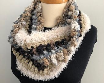 Tsarina infinity scarf, scarf, neck warmer, cowl, one of a kind, handmade, grey, off white, dark brown
