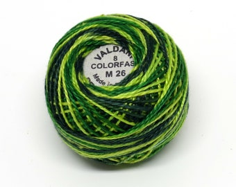 Valdani Pearl Cotton Thread Size 12 Variegated: #M26 Green Grass