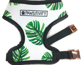 Pawsitivity Reversible Dog Harness - Tropical Palms & White Marble