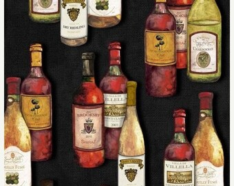 20 % off thru 5/31 VINTAGE  multicolor WINE BOTTLES on black   Henry Glass cotton fabric by the yard 1131-99