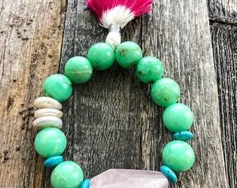Chrysoprase Bracelet | Rose Quartz | Blue Turquoise | Coin Freshwater Pearl | Tassel | Bohemian | Stack