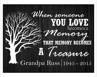 "Personalized In Loving Memory, Sympathy Gift, Bereavement Gift, ""When someone you love becomes a memory, that memory becomes a treasure."""