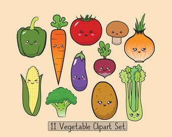 Vegetable Clipart, Kawaii Vegetable clipart, Vegetable Graphics, Vegetable Collection, Cute Vegetable set