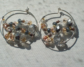 Silver Crystals Light Topaz Glass Beads Wire Wrapped Silver Hoop Earrings by hipknita