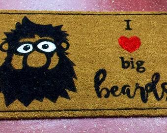 I love big beards  coir doormat   Funny     Entryway rug   Outdoor mat   Cute  