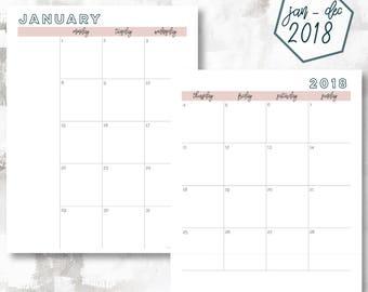 The 2 Page Calendar, Monday Start | January - December 2018 | Letter Size | Printable Planner | Printable Calendar OG Style