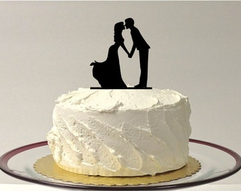 MADE In USA, Kissing Silhouette Wedding Cake Topper Cake Topper Princess Style Dress Ball Gown Bride and Groom Wedding Topper Bride Vintage
