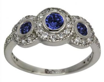 Three Stone Ring, Sapphire Cluster Ring, Art Deco Ring, Unique Jewelry, Diamond Ring, Vintage Style Ring, Victorian Ring, 14K Gold Rings