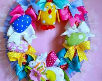 Spring wreaths front door wreaths with bows easter handmade garland Easter bunting circle garland Door Garland  chicken  outdoor wreaths