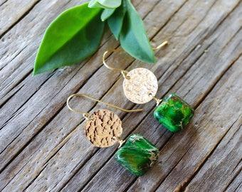 Green jasper earrings. Hammered gold disc earrings with green gemstone. Gold filled green gemstone earrings. Sea sediment jasper earrings.