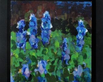 "Bluebonnets,  Original Landscape Painting,  8"" x 8"" x 1.5"" Cradled Wood Panel, Free Shipping within USA"